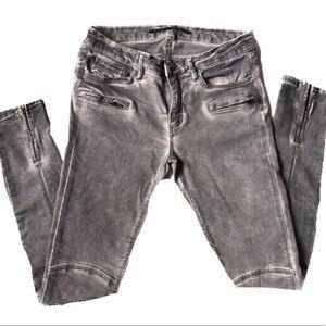 ZARA Gray Moto Style Zipper Skinny Jeans Punk Rock